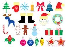 вектор символов элементов цвета рождества иллюстрация вектора