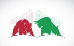 Вектор символов быка и медведя фондовой биржи отклоняет бесплатная иллюстрация