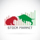 Вектор символов быка и медведя фондовой биржи отклоняет Стоковая Фотография
