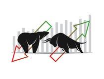 Вектор символов быка и медведя фондовой биржи отклоняет Стоковые Фотографии RF