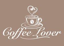 Вектор, символ любовника кофе Стоковое Фото