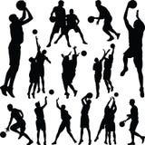 Вектор силуэта баскетболиста Стоковое Изображение