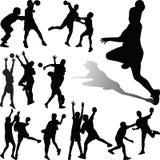 Вектор силуэта игрока гандбола Стоковое Изображение RF