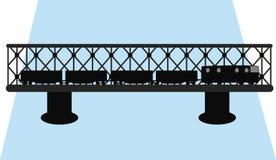 Вектор силуэта моста и поезда иллюстрация вектора