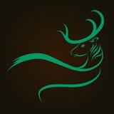 Вектор силуэта оленей головной Стоковая Фотография RF