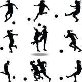 Вектор силуэта футболиста женщины Бесплатная Иллюстрация