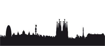 Вектор силуэта черноты Барселоны Стоковое Фото
