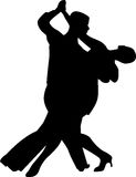 Вектор силуэта людей танца Стоковые Фото