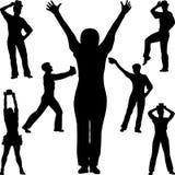 Вектор силуэта людей танца Иллюстрация штока