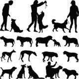 вектор силуэта grunge собаки предпосылки Иллюстрация штока