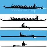 Вектор силуэта rowing Стоковое фото RF