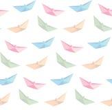 Вектор складывая бумаги шлюпки, origami, безшовной предпосылки Стоковая Фотография