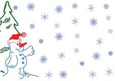 вектор снеговика снежинок иллюстрации Стоковые Изображения