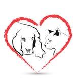 Вектор собаки и кошки Стоковое Изображение RF