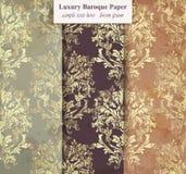 Вектор собрания винтажной картины установленный Ультрамодные оформления орнамента в плетении золота Стоковое Изображение