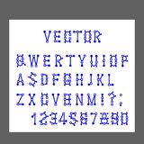 Вектор современных писем алфавита и номеров, линий стилизованных имитирует деятельность редактора программы s графического, миним иллюстрация вектора