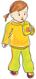 вектор сока девушки питья ребенка Стоковые Фотографии RF