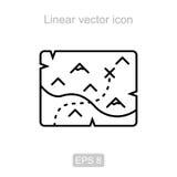 вектор сокровища карты предпосылки старый бумажный Линейный значок Стоковое Фото
