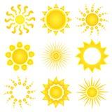 вектор солнца икон иллюстрация вектора