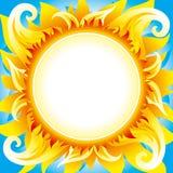вектор солнца предпосылки пламенистый иллюстрация вектора