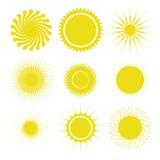 вектор солнца элементов конструкции установленный иконами Стоковые Фотографии RF