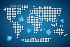 Вектор ставит точки карта мира с рыбами Стоковое Изображение