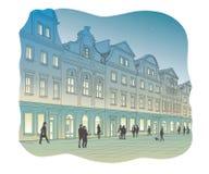Вектор старой городской площади на ноче Стоковые Изображения RF