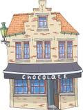 вектор Старый дом с магазином шоколада стоковая фотография rf