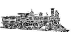 Вектор - старый локомотив Стоковые Изображения