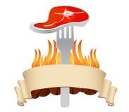 вектор стейка ресторана логоса решетки Стоковое Фото