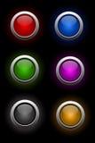 вектор стеклянного неона кнопок установленный Стоковые Фотографии RF