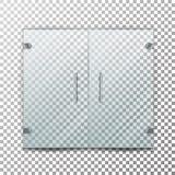 Вектор стеклянной двери прозрачный Дверь реалистического магазина стеклянная для рынка и магазин модной одежды на Checkered предп бесплатная иллюстрация