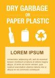 Вектор стикера отброса, пластичные бутылки, полиэтиленовый пакет, вектор отброса, мусорная корзина, желтый стикер отброса, знамя Стоковая Фотография