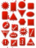 вектор стикеров коммерции красный Стоковое Изображение