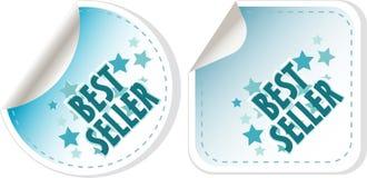 вектор стикеров наиболее наилучшим образомнаилучшим образом голубого продавеца ярлыка установленный иллюстрация вектора