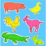 Вектор стикеров одичалых и животноводческих ферм иллюстрация штока