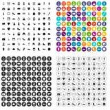 100 вектор стилизатора установленный значками различный Стоковое фото RF
