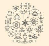 Вектор стиля плана значков цветка Стоковое Изображение RF