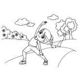 Вектор страницы расцветки шаржа скача веревочки ребенк Стоковая Фотография
