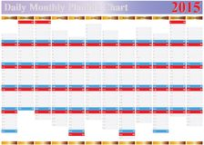 Вектор строгая диаграммы совсем ежедневного ежемесячного года 2015 Стоковая Фотография RF