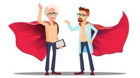 2 вектор супергероя Скрывать докторов В Чтений Изолированная иллюстрация шаржа иллюстрация штока