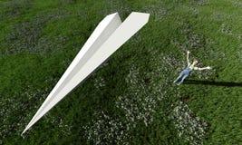 вектор схемы бумаги origami изготавливания плана иллюстрации самолета Стоковое Изображение