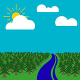Вектор сцены Forrest плоский графический Стоковые Изображения RF