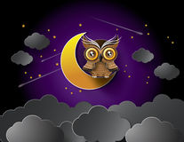 Вектор сыча и луны Стоковое Фото