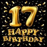 Вектор с днем рождения 17 годовщины лет торжества утехи 17 воздушные шары золота иллюстрации 3d гениальные & confetti f наслажден Стоковые Фотографии RF