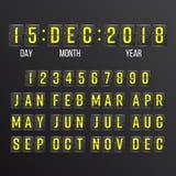 Вектор таймера комплекса предпусковых операций сальто Черный календарь цифров табло сальто Леты, месяцы, дни иллюстрация вектора