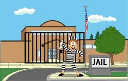 Вектор - танец пленника перед тюрьмой иллюстрация штока