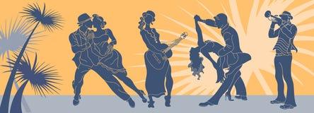 Вектор танца сальсы Вектор пар танго Сальса танцев пар Танго Аргентины Латиноамериканец сальсы предпосылки сети Знамя партии музы Стоковые Изображения RF