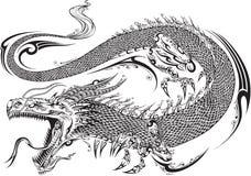 Вектор татуировки дракона племенной иллюстрация штока