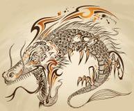 Вектор татуировки Doodle дракона иллюстрация штока